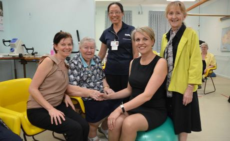 Meeting the Federal Minister for Health Tanya Plibersek and Federal Member for Page Janelle Saffin in Lismore today were (l-r) Healthy Communities Coordinator Tarryn Corlet, Carroll Centre client Violet Cook, 79, and Carroll Centre physiotherapist Patricia Tan.