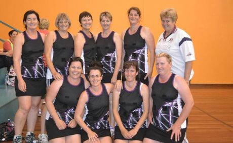 The Maranoa Masters: Wendy Steinohrt, Kirsten York, Gayle Steinohrt, Katrina Marsh, Angelia Peak, Judy Reardon, Marion Lucht, Vicki Beitz, Beth Humphries and Lynn Lee (Team Manager). Missing from the photo are Lana Schutt and Sharyn Garrett (players) and Jessica Lee (Team Umpire).