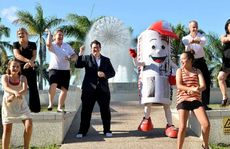 MP George Christensen and Merc Man lead the Gangnam Style dance. 