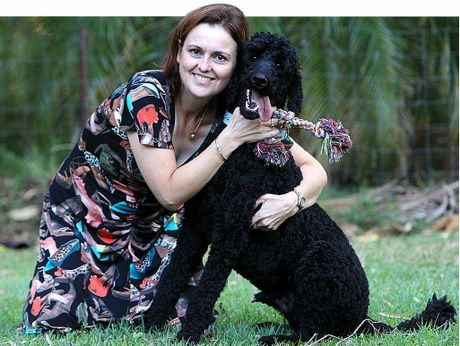 Fiona Burns with her poodle, Charlie. The dogs who attacked him were on the hunt for prey, she says.