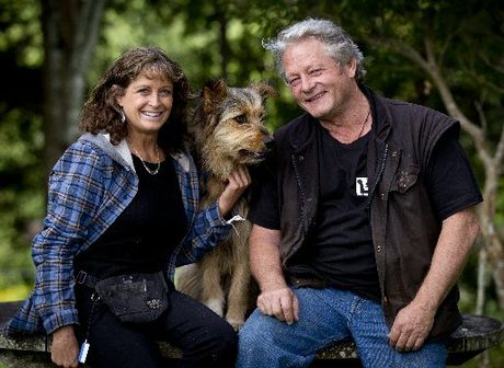 Animal trainers Rosie Miles and Mark Vette with Buzz.