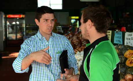 Nationals candidate Matthew Fraser talks to Grant Cook at Grawer's Wholesales Fruit & Veg. Photo: John Gass / Daily News