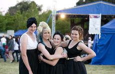 (From left) Karina Priebbenow, Sarah-Jane Rees, Taylor Jackson, Katie Murray from Oakey State High School at the second annual To Glee Or Not To Glee, part of the 2012 USQ Shakespeare in the Park Festival, Wednesday, October 17, 2012. Photo Kevin Farmer / The Chronicle