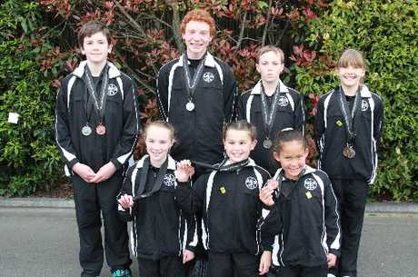 Hawke's Bay/Poverty Bay gymnasts Harry Pittar (back, left), Levi Cox, Baylee Crago and Amber Kingsbeer. Photo / Supplied