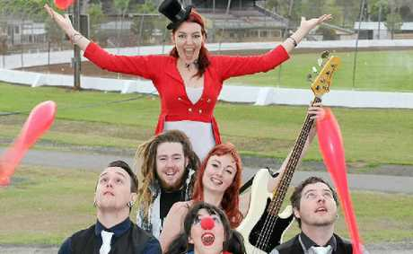 IT'S SHOWTIME!: Stiltwalker Bonnita Jade, jugglers Luke Whittingham and Tyson Laws (The Well Dressed Jugglers), grunge rockers Ned Cain and Monique Hope from SubStation (at rear) and clown Tamika-Jade Boyd are ready to perform at the North Coast National this weekend.