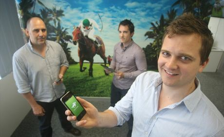 Some of the Punters Paradise team, from left, developer Hans Mussmann, content editor Nick Hluchaniuk and CEO Luc Pettett.