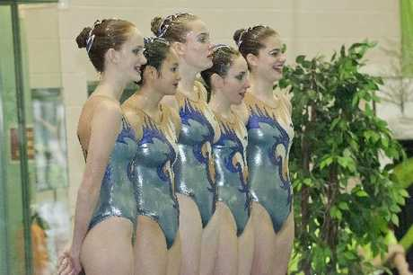 Tauranga Synchro&#39;s National Champion 15 and Under Team await their scores.