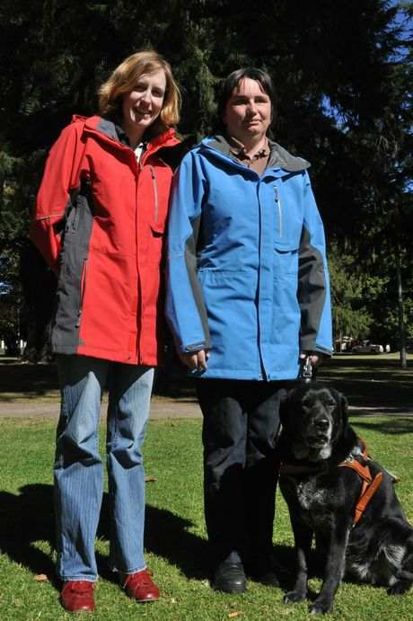 Jenny Croaker Orientation and mobility instructor with Guide Dogs NSW/ACT and Deb Warren with her guide dog Meg, who will be in Grafton on Saturday to raise awareness of and funds for their upcoming Mt Kilimanjaro challenge for Guide Dogs NSW/ACT.
