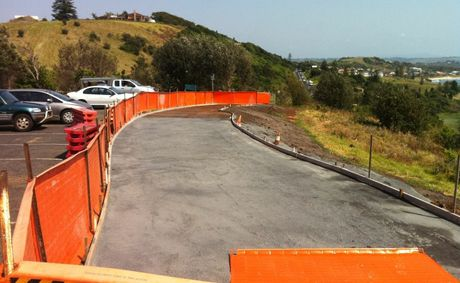 The section of footpath councillors have stopped construction of for fear the lookout was being covered in concrete.