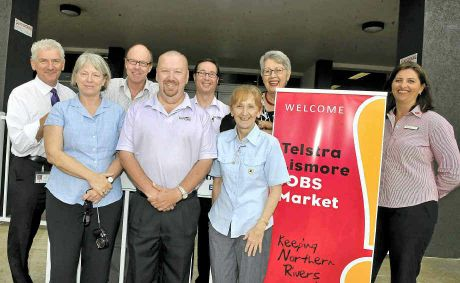Ready for today's Telstra Lismore Jobs Mart are (from left) Mark Batten (Lismore City Council), Chris Williams (DEEWR), Martin Mills (State Training), Michael Dawkins (Jobfind), Cameron Bracken (Jobfind), Janelle Saffin, Jenny Dowell and Nicki Taylor (Westpac). Photo: Cathy Adams