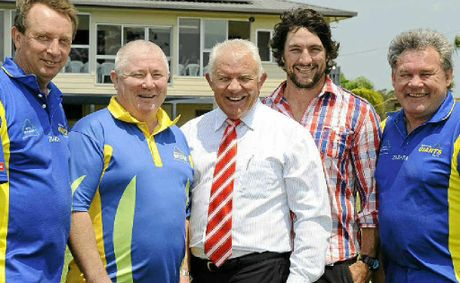 WISE WORDS: Recently retired Parramatta rugby league captain Nathan Hindmarsh and former St George and Parramatta hooker Steve Edge were special guests at a Sportsmen's Luncheon at the Mullumbimby Leagues Club yesterday. They are pictured with Ken Barnham, Graham Eadie and Steve Butler of the Mullumbimby club.