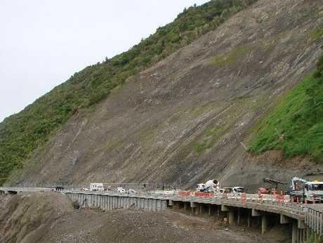 Contractors work on the fourth bench above the slip in the Manawatu Gorge. Photo / Supplied