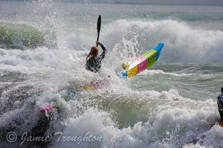 Mount Maunganui&#39;s Brooke Shergold punches out through a wave during the first round of the BOP Spring Series at Omanu last month.  