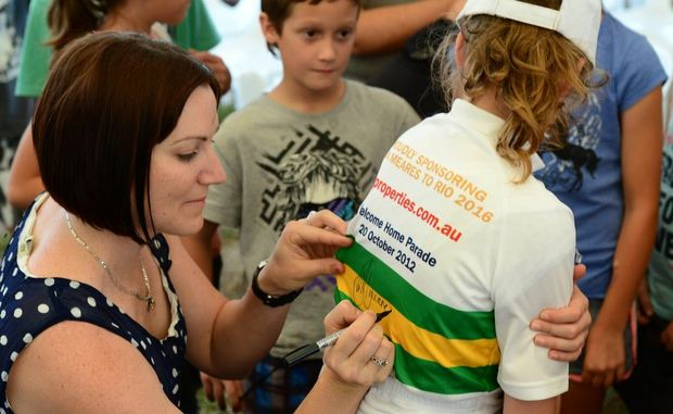 Anna Meares signs autographs at the Central Queensland Properties Open Day and Family Fair in Gracemere. Photo Sharyn O'Neill / The Morning Bulletin