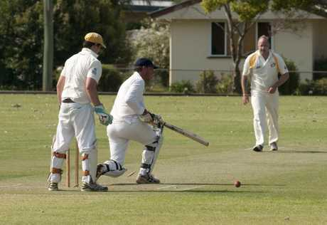 GOTCHA: Metropolitan-Easts batsman Mark Dealing is bowled at Harristown Park.