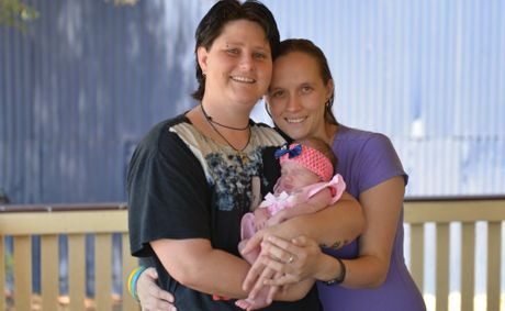 Proud parents Chantal Turner and Abigail Pratt with their baby Christine Pratt.