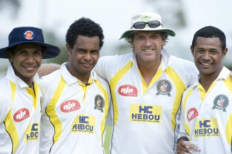 ( from left ) Charles Amini, Norman Vanua, Peter Anderson (coach), and Toua Tom from Papua New Guinea cricket team . Photo Nev Madsen / The Chronicle