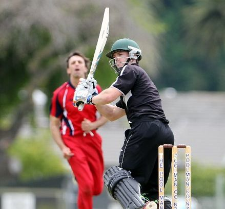 TO THE SLAUGHTER: Horowhenua-Kapiti bowler Andrew Lamb can only watch as Hawke's Bay batsman Carl Cachopa scores freely on his way to an unbeaten ton yesterday.