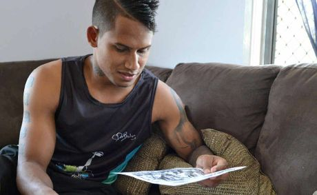 2012 Dally M Player of the Year Ben Barba looks at media coverage of his year as he takes a break in Mackay.