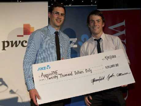 BUSINESS SAVVY: Thomas Harding (left) and his business partner James Moore won $30,000 of prizes in a University of Canterbury business competition.