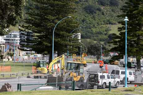 Roadworks on Marine Parade.