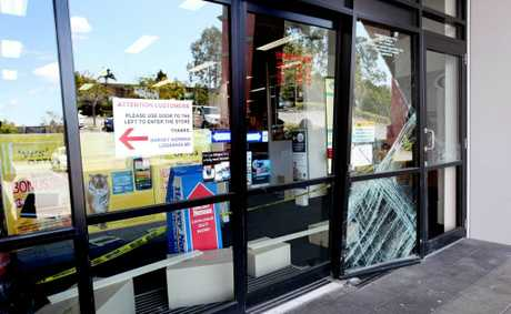 Ram raid at Harvey Norman Loganholme on Sunday night. Photo: Inga Williams / The Reporter