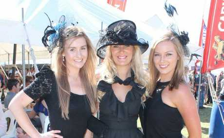 CLASSIC BLACK: Brisbane's lauren Daly and Danielle Kotkin with Applethorpe's Katrina Williams. Photo Daniel Elliott / Stanthorpe Border Post