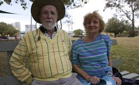 Dawn Quinlan and John Denny sitting in the Goodwin park, Coolangatta. Photo Leilani Gaze