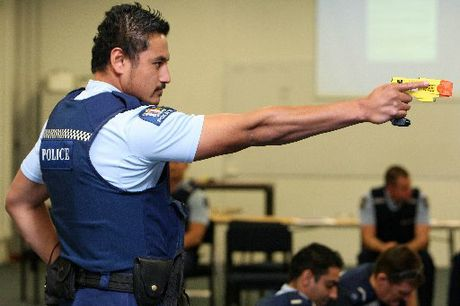 A Police officer in action at the Police taser training in Auckland. File image.