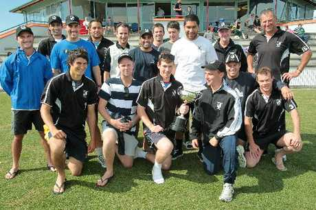 The Hawke's Bay senior men's team after lifting the Chapple Cup yesterday at Nelson Park, Napier. Photo / Warren Buckland