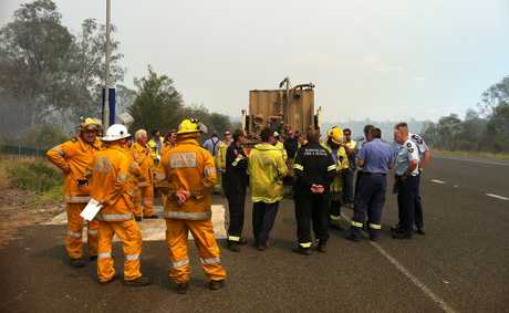 Fire crews gather on the Centenary Hwy