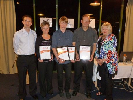 Sport Bay of Plenty Volunteer Awards, 2012. (L-R) Marcus Reynolds, Sport NZs Senior Advisor National Sport Development, with winners Ann Whyte, Lucian Clark and Paul Higgins with guest speaker Sheryl Dawson.