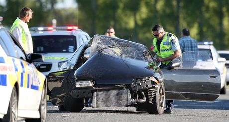 A scene from yesterday&#39;s crash in Reporoa.