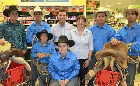 (Back, from left) Sponsored riders Joel Chevalley, Mitch Eastwell, Blake Weier, Shane and Tracy Smith of Supa IGA Warwick, Mark Collins, Brock Eastwell and (front) Kristy Banks.