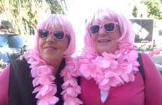 Sandy Flynn and Jenny Taylor at the Pink Walk in Tauranga.