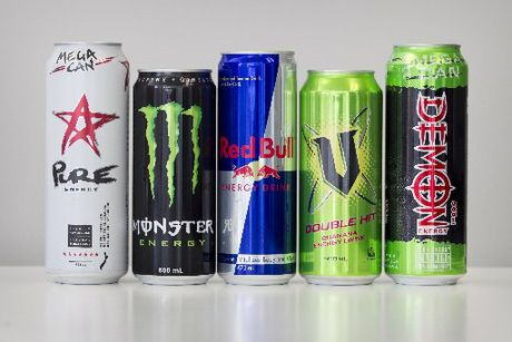 Energy Drinks: (from left) Pure Energy, Monster, Red Bull, V and Demon.