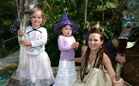 Halloween at Mt Warning pre-school. L to R Gabi Wright, Ayla Wollumbin, Maya Krasna. Photo: John Gass / Daily News