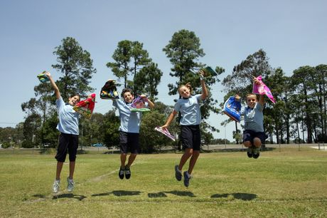 READY FOR FUN: Coolum State School students (from left) Shayla Buchanan, Cooper Waring, Kirralee Dunnett and Wil Duggan are jumping for joy just thinking about today's carnival.