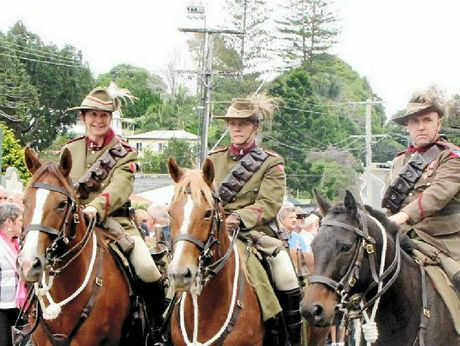 TRIBUTE: Niall Coburn, right, pictured riding with the 5th Light Horse, will join in Maleny commemorations of the charge of Beersheba.