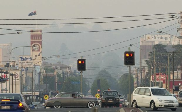 A smoke haze settles over Toowoomba on Thursday afternoon.