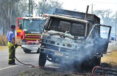 Truck fire on Haigslea - Amberley Road in Walloon on Friday. Photo: Rob Williams / The Queensland Times