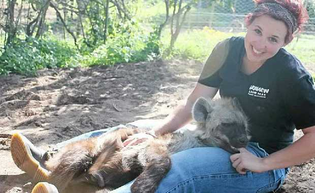Libby got to know and love the park's two hyenas which were brought in from another animal park when they were three weeks old.