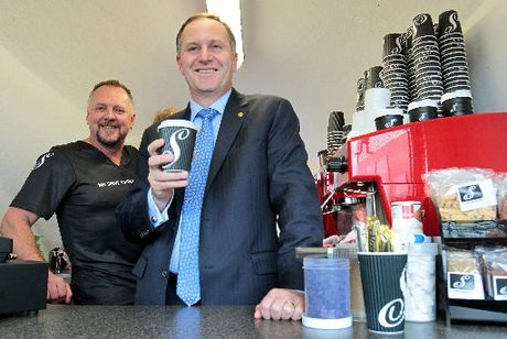 COFFEE CATCH-UP: Stewart Brodie, Prime Minister John Key's ex-bodyguard who now runs a coffee cart in Hastings, received a visit from his old boss yesterday. PHOTO/WARREN BUCKLAND HBT124226-4