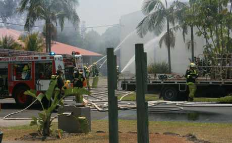 Firefighters battle a blaze at Byron Bay's arts and industry estate. Oct 26, 2012
