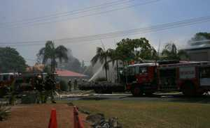 Firefighters battle a blaze at Byron Bay&#39;s Arts and Industry Estate. Oct 26 2012