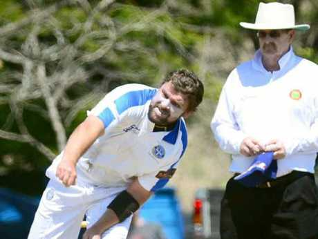 WINNING TARGET: Brothers bowl-er Craig Mackay delivers during his team's upset win over Northsiders.