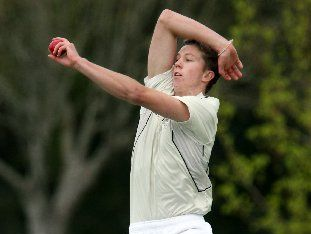 Tauranga bowler Tom Clout in action against Rotorua last week.