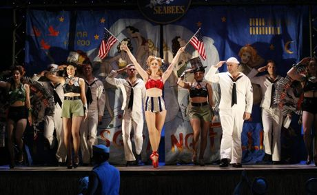 The ensemble cast in a scene from the musical South Pacific.