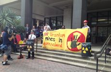 Anti-uranium mining protest outside Queensland Government executive building in Brisbane on Monday.