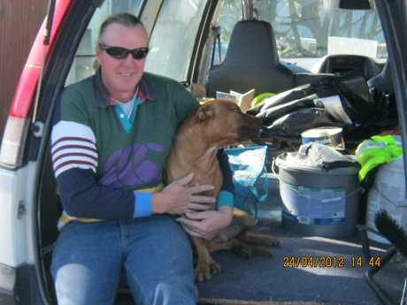 HAPPY DAYS: Peter Fisher, pictured in April after he was reunited with his dog Kahu, who had been missing for several months.